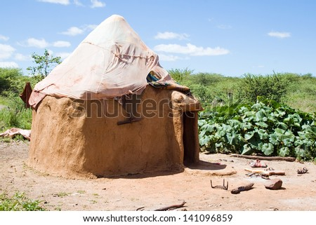 Hut of a Himba tribe in Namibia - stock photo