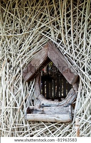 hut window - stock photo