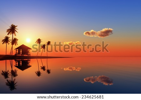 Huts and palm trees on the beach. - stock photo