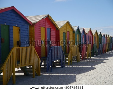 Huts at Muizenberg beach, South Africa.