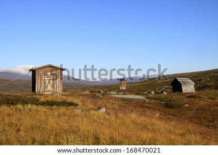 Huts in the Sarek national park, Sweden