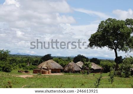 Huts Village - Zambia - stock photo