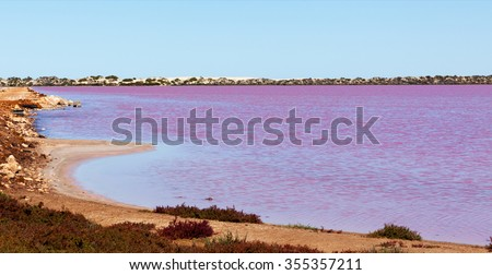 Hutt Lagoon is a pink lake which boasts a pink hue created by presence of carotenoid-producing algae Dunaliella salina. One of many pink lakes in western Australia - stock photo