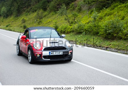 HUTY, SLOVAKIA - AUGUST 07, 2014: Nutella mascot of professional cycling tour car