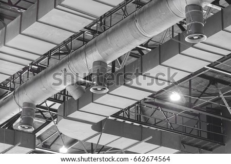 Hvac Duct Cleaning Ventilation Pipes Silver Stock Photo