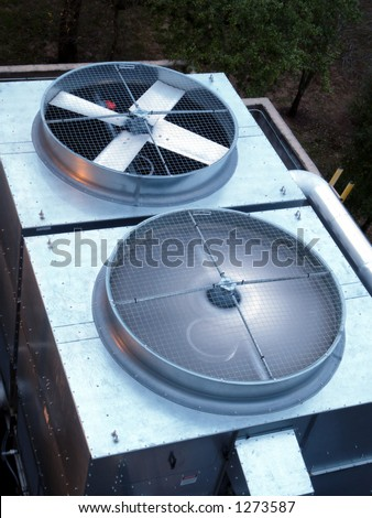 HVAC unit with spinning blades - stock photo