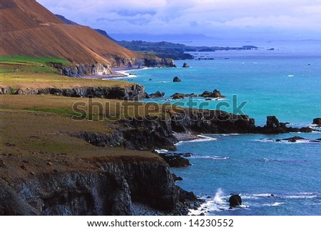 Hvalnes cliffs, the whales cape, east of Iceland - stock photo
