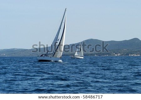 HVAR, CROATIA - MAY 20: Sailing yacht on the Republic Cup international sailing competition on the Adriatic sea on May 20, 2003 in Croatia. - stock photo