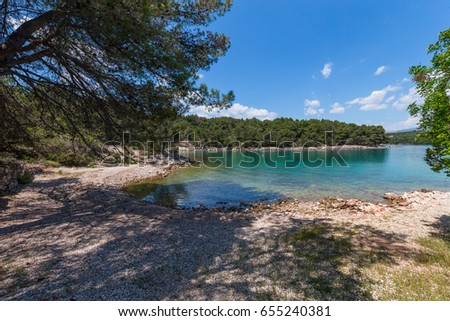 Hvar island beaches are mostly rocky and pebble scattered in numerous  bays and on smaller islands along the southern island's coastal line. There are also sandy beaches, mostly on the northern side.