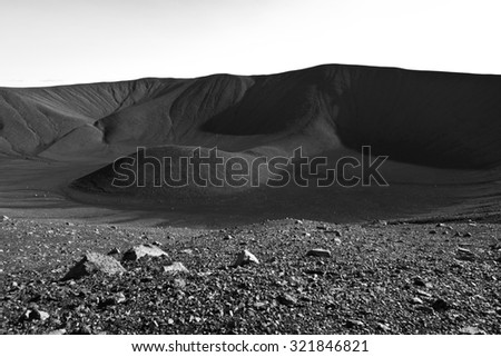 Hverfjall volcanic crater near lake Myvatn in Iceland, one of the largest volcanic craters in the world with diameter of almost 800m at the top - stock photo