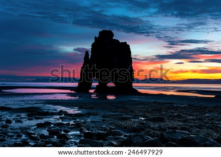 Hvitserkur. A 15 m. high basalt stack along the eastern shore of the Vatnsnes peninsula, in the northwest of Iceland. - stock photo