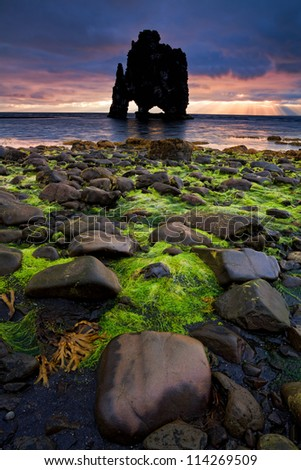 Hvitserkur, an animal shaped petrified lava-rock formation in the north of Iceland (Island), pictured on one glorious summer sunrise - stock photo