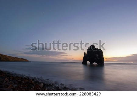 Hvitserkur, lava-rock formation in the north of Iceland - stock photo