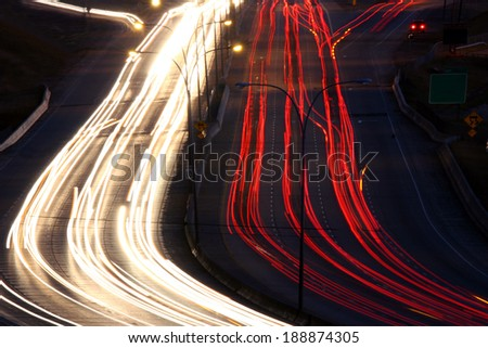 Hwy by night  - stock photo