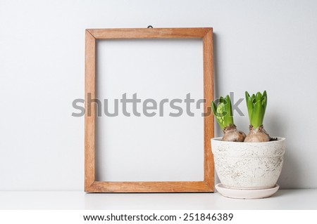 Hyacinth and narcissus sprouts in ceramic pots and empty wooden frame on a white wall - stock photo