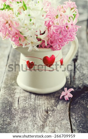 hyacinth bouquet on wooden table