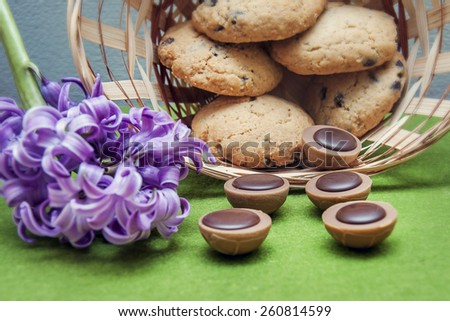hyacinth, cookies, candy and wicker basket on a green background