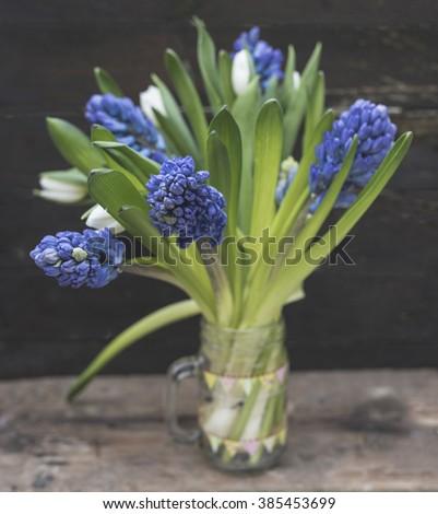 hyacinths and tulips - stock photo