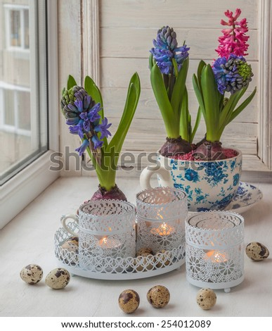 Hyacinths in vintage cups and candlesticks with lighted candles on the window - stock photo