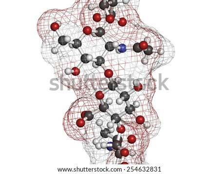 Hyaluronan (hyaluronic acid, hyaluronate) glycosaminoglycan molecule, short fragment. Part of extracellular matrix. Used as tumor marker. Used in treatment of osteoarthritis, etc - stock photo