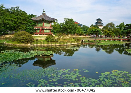 Hyangwon-jeong pavilion in Gyeongbokgung Palace, Seoul, South Korea - stock photo