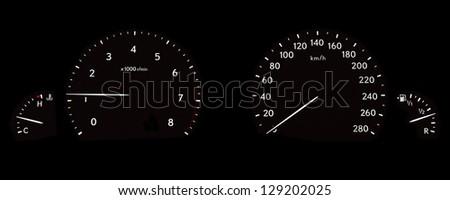 Hybrid Car dashboard - stock photo