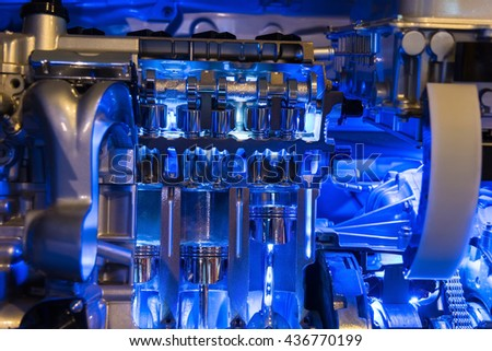 Hybrid Car engine part, internal combustion  - stock photo