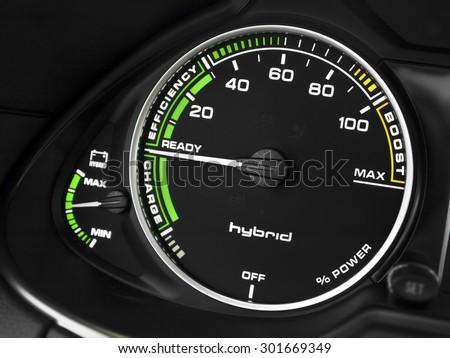 Hybrid car instruments panel - stock photo
