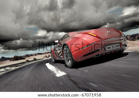 Hybrid car moving on the road. Non-branded concept car. Logo is a fake. - stock photo