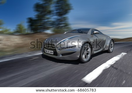 Hybrid car moving on the road. Non-branded concept car. number is a fake. - stock photo