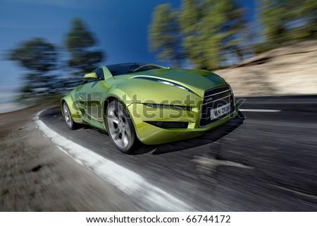 Hybrid car moving on the road. Original car design. - stock photo