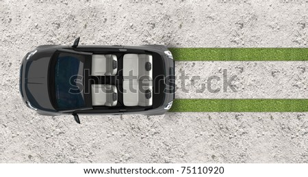 hybrid car top view - stock photo