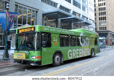 Hybrid Electric Bus - stock photo