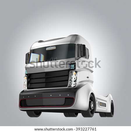 Hybrid electric truck isolated on gray background. Clipping path available. - stock photo