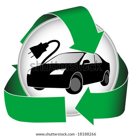 Hybrid logo features recycled green energy and an electric car. - stock photo
