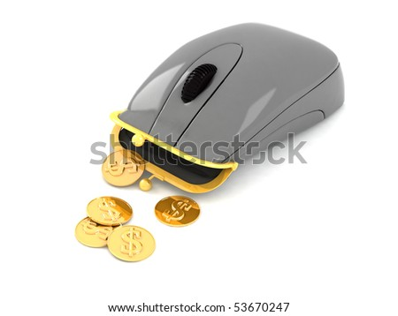 Hybrid of computer mouse and purse. Example of object for earning of money - stock photo