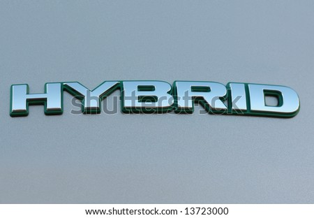 Hybrid sign from Hybrid car - stock photo