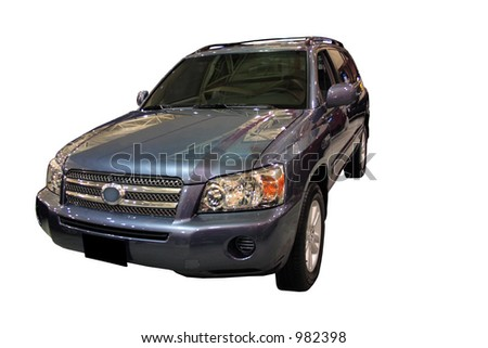 Hybrid SUV Isolated Over White - stock photo