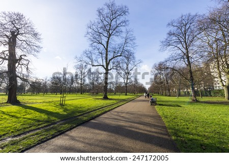 Hyde Park in winter. - stock photo