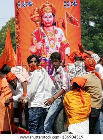 HYDERABAD,AP,INDIA-APRIL 6: Thousands of people participate in Shobha Yatra rally from Gowliguda to Tadban on the occasion of Hanuman Jayanthi on April 6,2012 in Hyderabad,Ap,India.