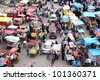 HYDERABAD,AP,INDIA-AUGUST 29:People shopping in the street market near charminar during Ramzan festival August 29 2011 in Hyderabad,Ap,India.About 25 lakh people visit area every Ramzan season - stock photo
