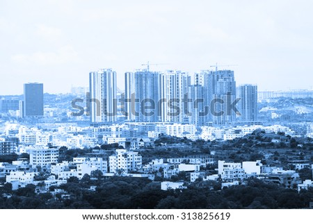 Hyderabad financial district in monochrome - stock photo