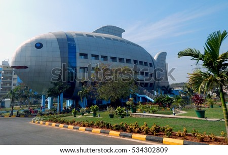 HYDERABAD,INDIA-DECEMBER 12:Fish shaped architecture of a building on December 12,2016 in Hyderabad,India