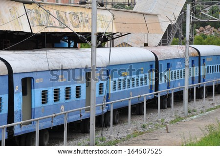 HYDERABAD, INDIA - JULY 29: Train station movie set at Ramoji Film City in Hyderabad, India, on July 29, 2012. It is certified by the Guinness World Records as the worlds largest film studio complex. - stock photo
