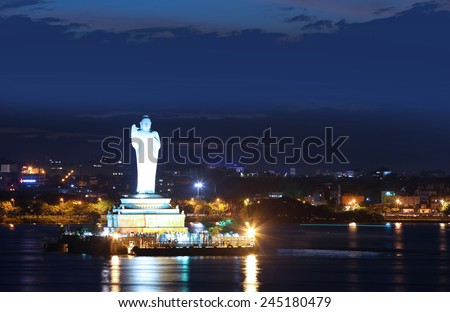 HYDERABAD INDIA - September 1:Buddha Statue of Hyderabad is a tallest monolithic statue in the world, On September 1, 2012 Hyderabad, India. - stock photo