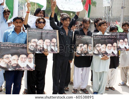 HYDERABAD, PAKISTAN-SEPT 02: Asgharia Organization Activists protest against bombs explosions in martyrdom procession of Hazrat Ali (AS) in Lahore during a demonstration outside Hyderabad Sept 2, 2010