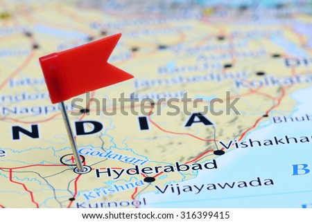 Hyderabad pinned on a map of Asia  - stock photo