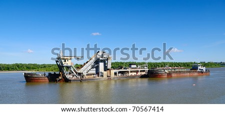 hydraulic dredge on river Irtysh Omsk Russia - stock photo