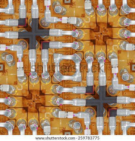 Hydraulic Hoses Seamless Pattern Background - stock photo