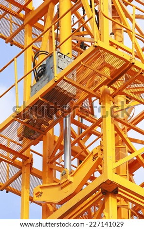 Hydraulic Jacks of Tower Crane - stock photo